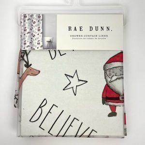 Rae Dunn BE MERRY HOHOHO BELIEVE Christmas Shower Curtain Liner 🎅🏻